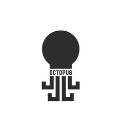 black simple octopus logo isolated on white vector image