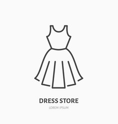 dress store flat line icon women apparel evening vector image vector image