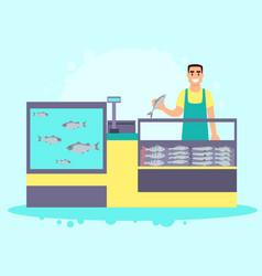 fish store interior vector image vector image