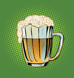 full beer mug with foam vector image vector image