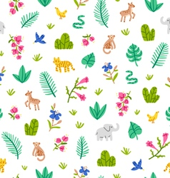 Jungle wildlife pattern on white background vector image vector image