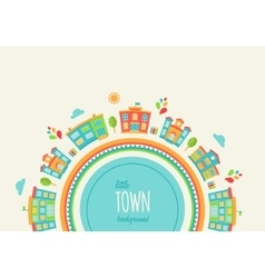 Little town background made of houses and schools vector