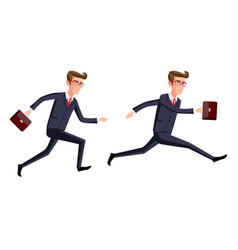 silhouette of a businessman running with vector image vector image