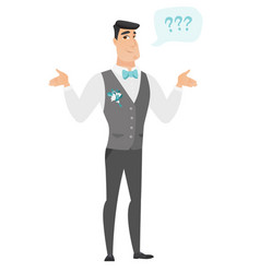 caucasian confused groom with spread arms vector image vector image