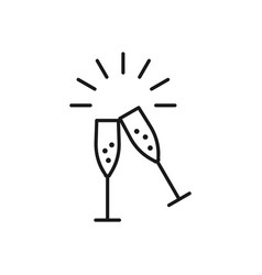 champagne glasses icons wedding toasting wine vector image