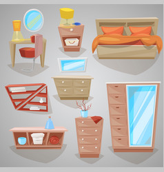 furniture in bedroom furnishings design of vector image