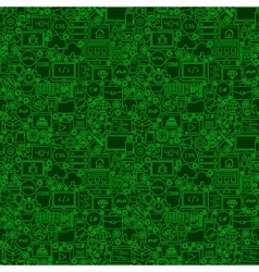 Green Line Coding Seamless Pattern vector image