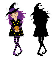 Halloween of young witch with pumpkin and black vector