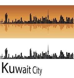Kuwait city skyline in orange background vector