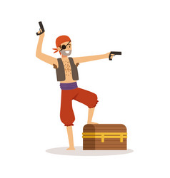 brave pirate character with pistols and chest vector image