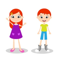 happy young boy and girl with freckles vector image