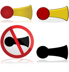 Horn and no honking sign vector image vector image