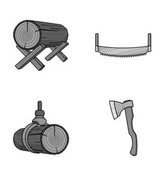 log on supports two-hand saw ax raising logs vector image vector image