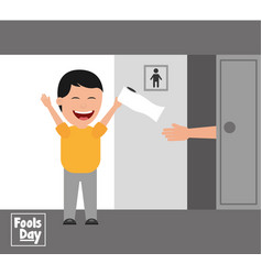 man jokes to the friend removing toilet paper from vector image