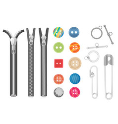 steel metal zipper and objects for sewing vector image vector image