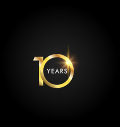 10 years anniversary celebration gold template vector