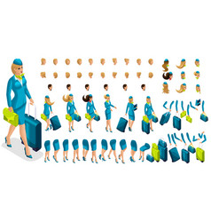 3d constructor stewardess create your character vector image