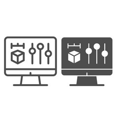 3d project on monitor line and glyph icon 3d vector
