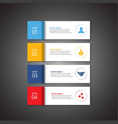 4 steps of infographic with sky blue yellow blue vector image