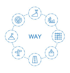 8 way icons vector