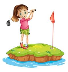 A cute little girl golfing vector image
