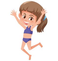 A young girl wearing bikini vector