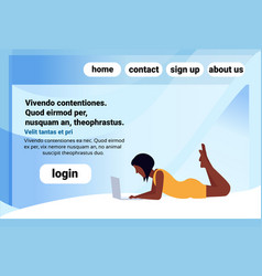 african american woman using laptop lying pose vector image