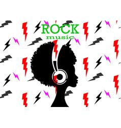 Afro girl listens to rock music on headphones vector