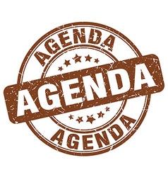 Agenda brown grunge round vintage rubber stamp vector