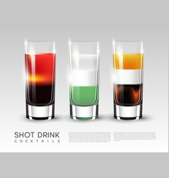 Alcohol shot drink glasses poster vector