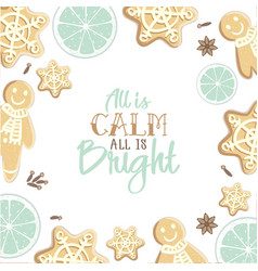 all is calm all is bright holiday greeting card vector image