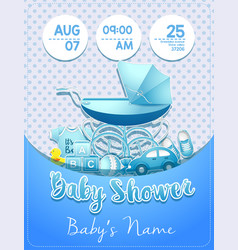 Baby shower boy invitation template with toys vector