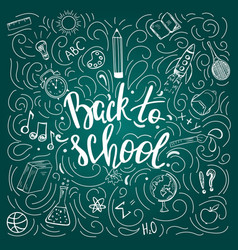back to school poster on chalkboard vector image