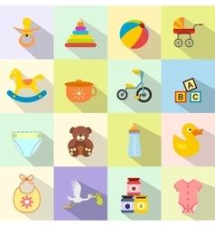 baflat icon set vector image