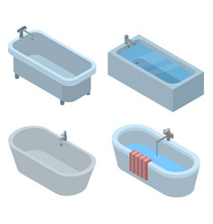 bathtub icon set isometric style vector image