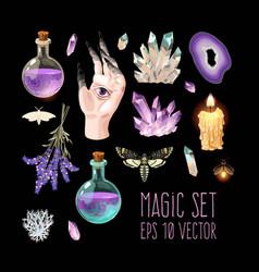 Big set witch craft supplies vector