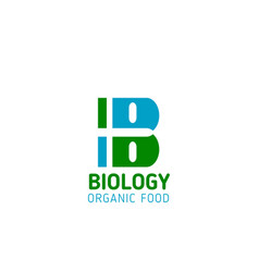 biology organic food letter b icon vector image
