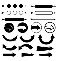 black arrow icon set on white background vector image