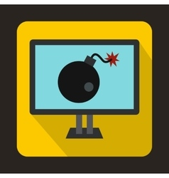 Bomb on computer monitor icon flat style vector image
