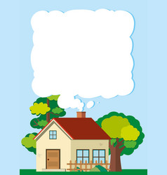 border template with house in the field vector image