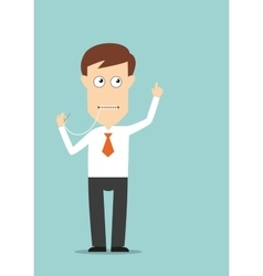 Businessman sewed up his mouth vector