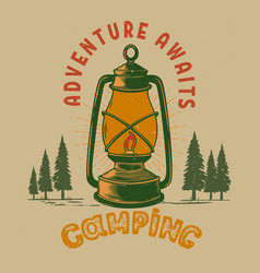 camping adventure awaits vintage design with vector image