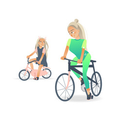 Cartoon mother girl kid bicycle vector