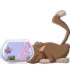 Cat and an aquarium vector