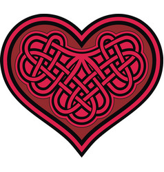 celtic heart with shamrock knot vector image