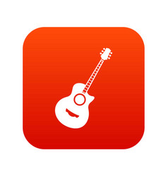 classical guitar icon digital red vector image