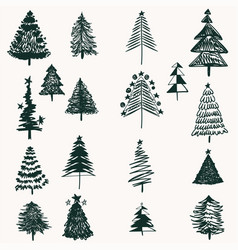 Collection of christmas trees in doodle rustic vector