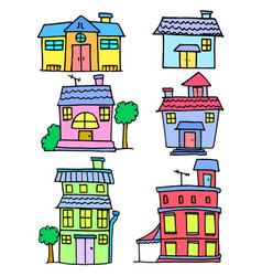 Collection stock of house colorful cartoon vector