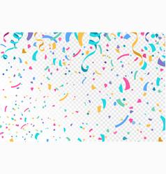 Colorful falling confetti serpentine ribbons vector