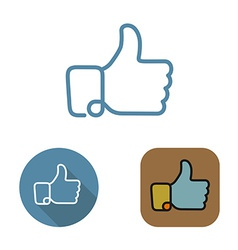 Contour social network like icon and stickers set vector image
